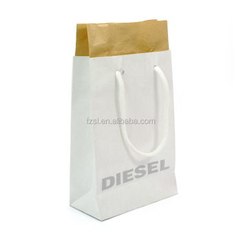 double white brown kraft shopping paper bag