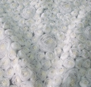 latest fashion white chiffon fabric with organza rose ribbon flowers embroidered fabric for dresses or clothing