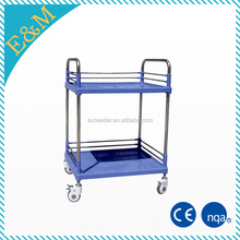 cheap hospital steel plastic utility trolley, mobile clinic cart, instrument trolley manufacturer