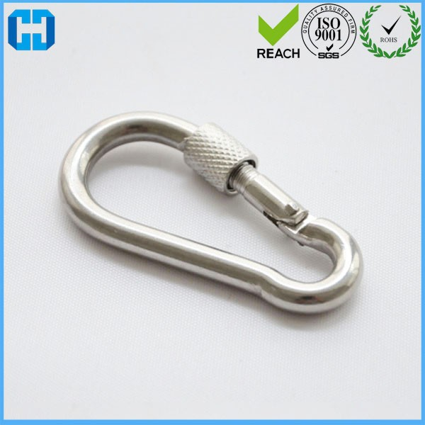 304 Stainless Steel Snap Hook With Screw Connecting Link Button Safety Hook