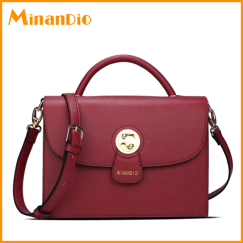 OEM design good quality metal lock handbag flap style PU leather bag for women