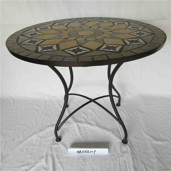 Outdoor Garden Furniture Round Table Ceramic Top Line Patio