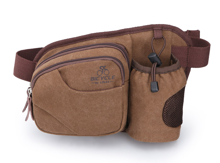 New arrival! Khaki canvas waist packs waterproof running bag unisex fanny pack cycling bum bag outdoor belt bag free shipping