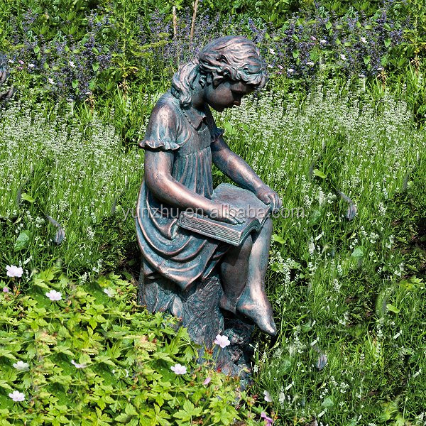Good European Style Casting Bronze/brass Morden Girl Reading Garden Statue