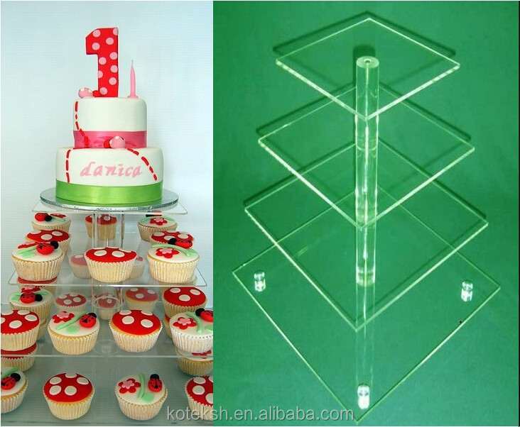 4 tier cake and small acrylic cake tower Display Stand Party 4 Tier Acrylic Cupcake Stand