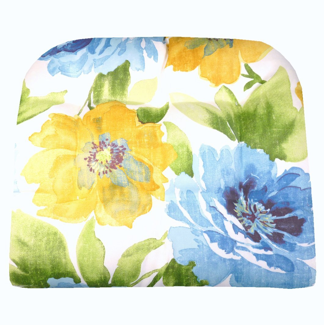 Large Patio Chair Cushion   Muree Blue U0026 Yellow On White Watercolor Floral    Indoor Outdoor: Mildew Resistant, Fade Resistant   Reversible, Tufted    Outdoor ...