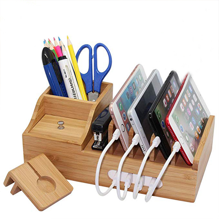 Bamboo Charging Station, Multiple Devices Organizer for Phones,Tablet, Office Desktop Wooden Docking Stations Storage Box Stand