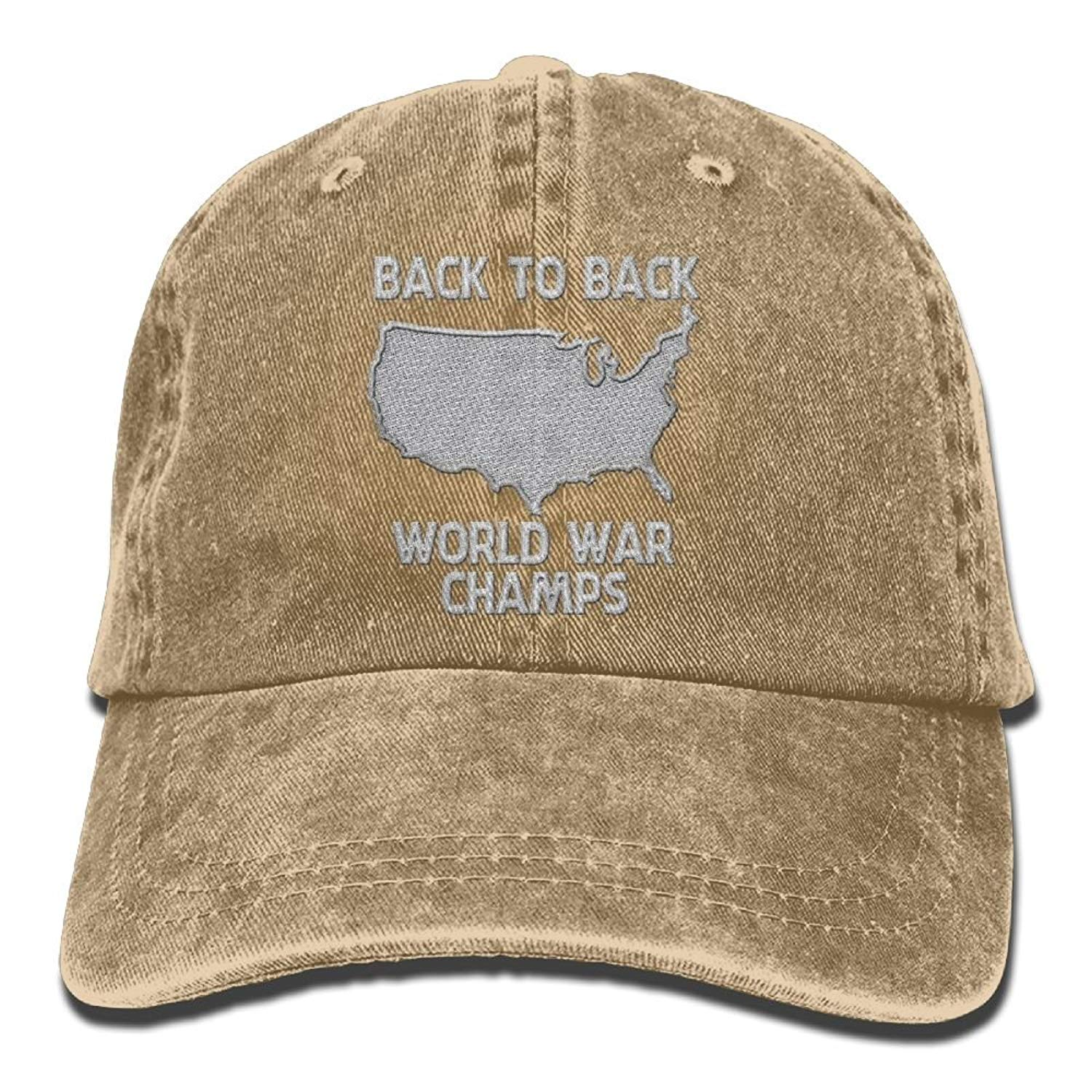 Get Quotations · Back-to-Back World War Champs - Embroidered Retro Denim  Baseball Hat Trucker Hat 162fc4b6eead