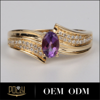 Hottest Sales New Style Purple Crystal 18K Gold rings gemstones rings