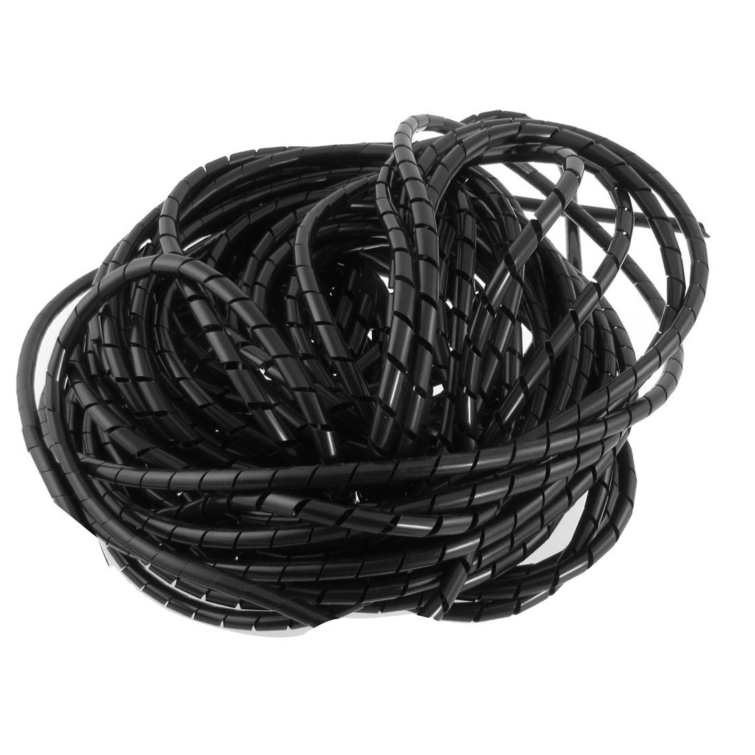 Copapa 21M 68 Ft PE Black Polyethylene Spiral Wire Wrap Tube PC Manage Cable 6mm 1/ 4'' for Computer Cable, Car Cable (Dia 6MM-Length21M, Black)