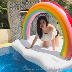 Summer Custom inflatable rainbow cloud floating daybed cool swimming pool floats