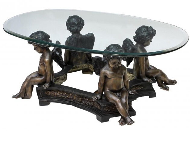 Bronze Woman Coffee Table: Bronze Sculpture Coffee Table