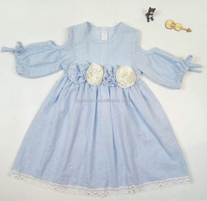 High quality baby girl fashion boutique dress kids spring summer clothing wholesale children girls frock seersucker dresses