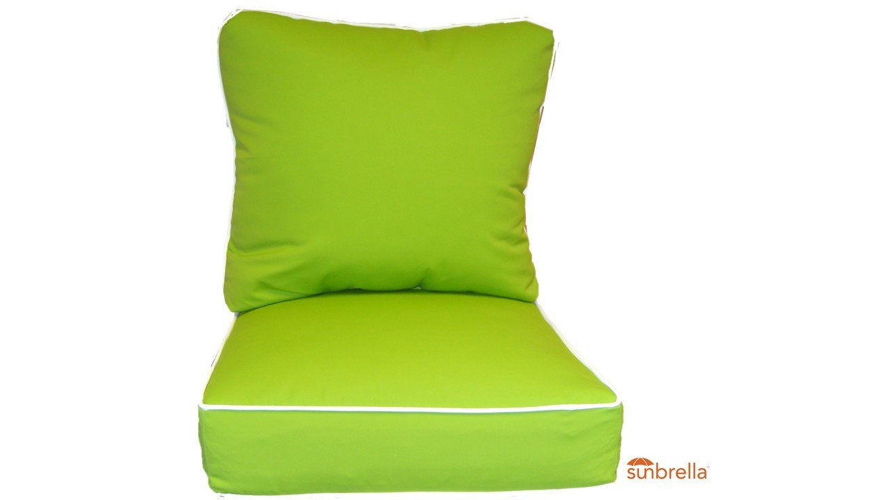 """Sunbrella Canvas Macaw ~Lime Green~ White Piping Cushion Set for Indoor / Outdoor Deep Seat Furniture Chair - Choose Size (Seat Cushion 20""""w X 25""""d)"""