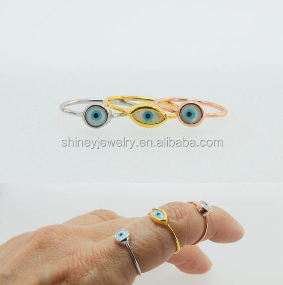 2017 factory wholesale dainty simple design mother of pearl evil eye midi latest gold ring designs