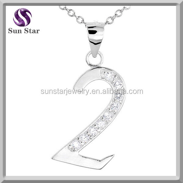 925 Sterling Silver White Cubic Zirconia Lucky Number One 1 Pendant