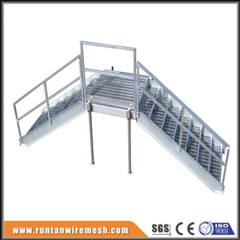 Top Quality Industrial Steel Stairs 10u0027 High 24u0026quot; Wide Bar Grating  Treads W/