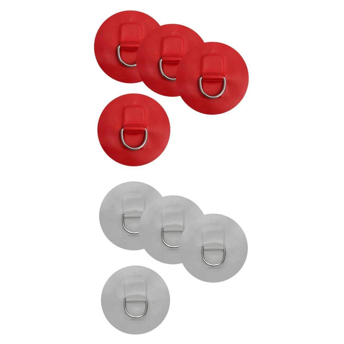MagiDeal 8 Pieces D-Ring Pad Patch for Inflatable Boat Raft Dinghy Kayak Red & Gray