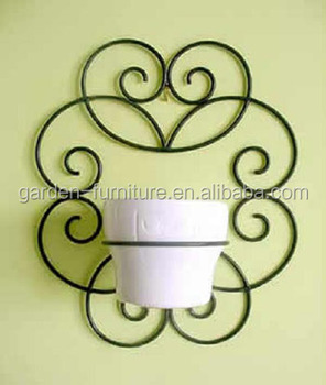 Garden Ornaments Hanging Plant Stand Wrought Iron Flower Pot Holders Wall Mounted Pots Whole