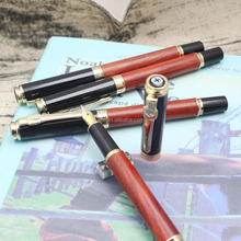 High quality advertising luxury promotional gift wooden pen engraving & printing logo red wood and gold fountain pen