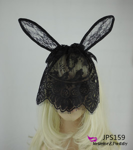 High quality party girl sexy lace rabbit bunny ears veils headband