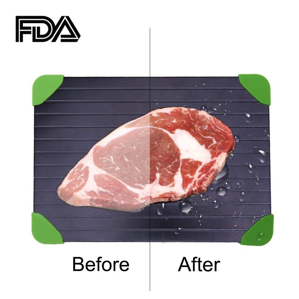 Rapid Defrosting Tray For Fast Thawing Meat Or Frozen Food-Safety, Economic, No Electricity, No Lost Food Flavors, With Green Silicone Border
