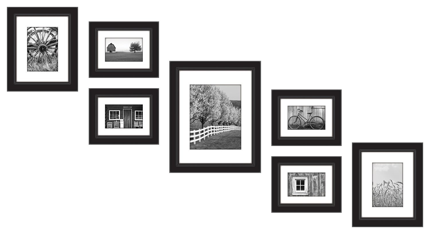 Gallery Perfect 7-Piece Wood Frame Set, Black