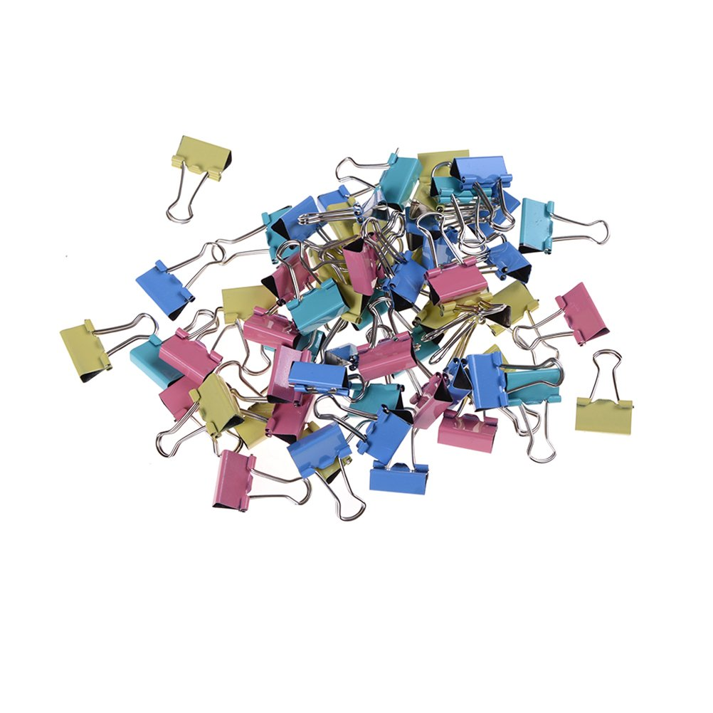 60 Pcs Mini Multi-purpose Metal Paper Binder Foldback Clips 15mm,Assorted Color