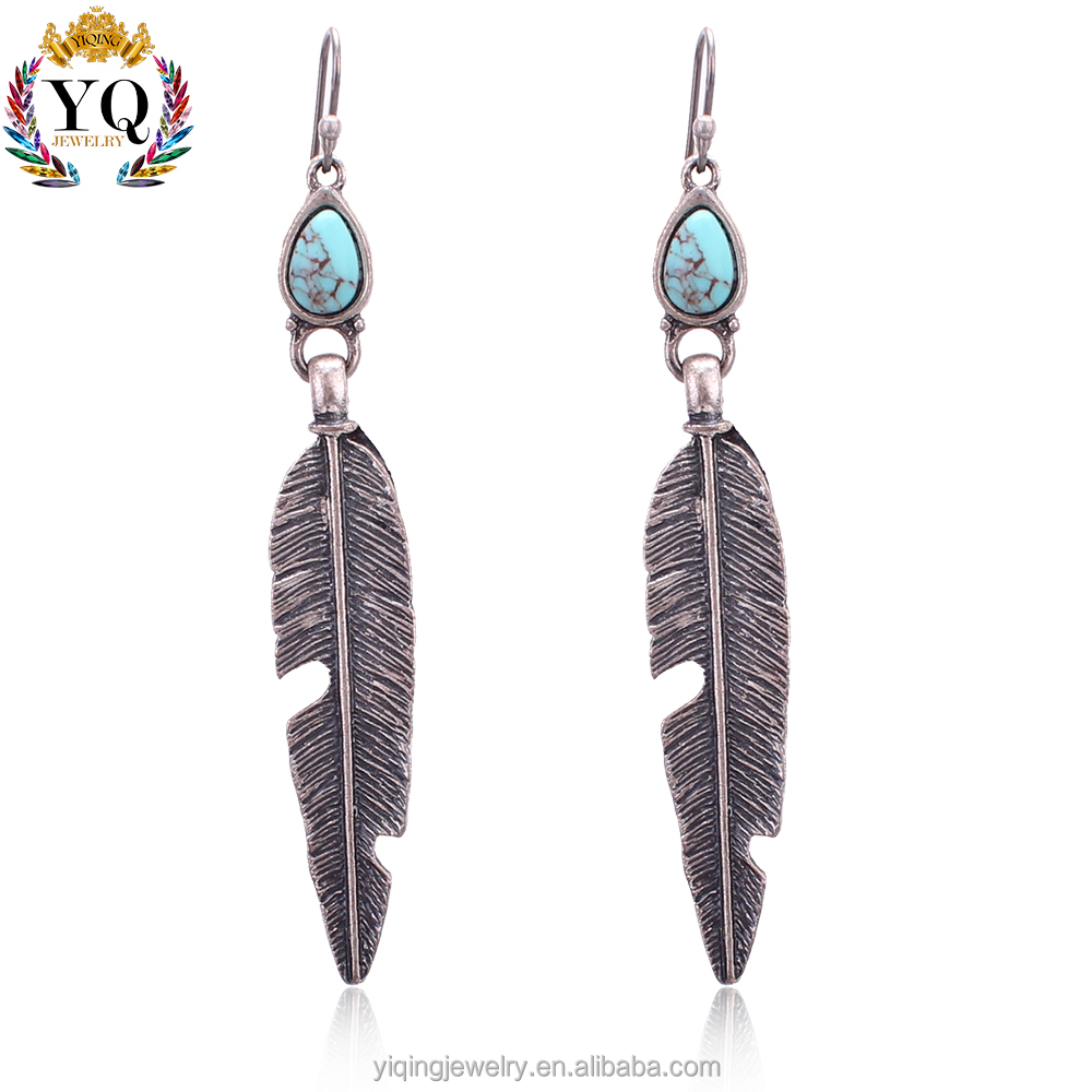 EYQ-00513 fashion fancy design charming hanging alloy feather turquoise antique silver earring