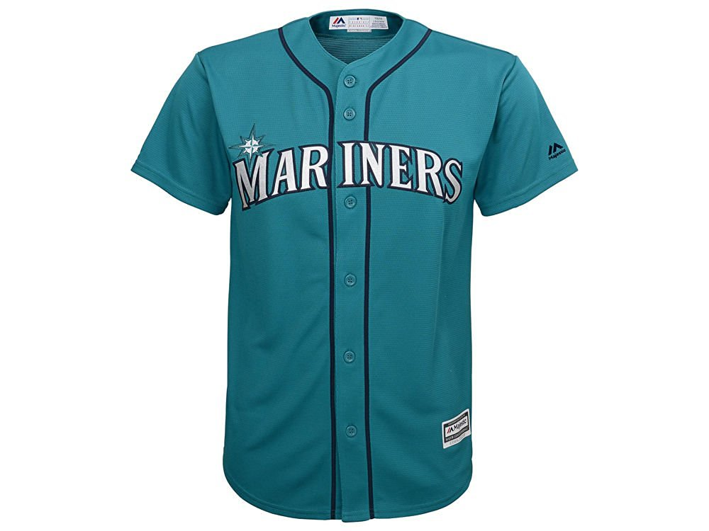 Majestic Seattle Mariners MLB Youth 8-20 Cool Base Alternate Teal Jersey - Youth Medium (10/12)