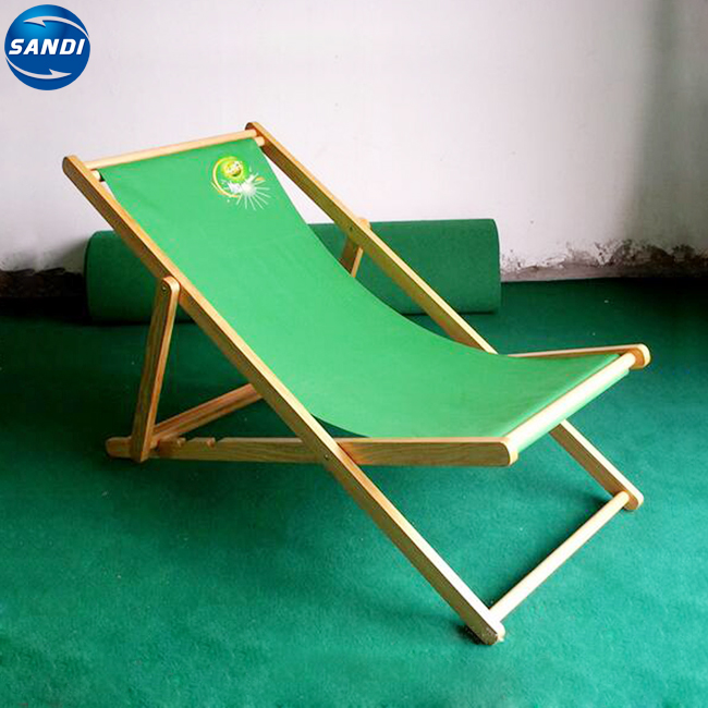 Promotional custom LOGO printed wooden folding beach chair