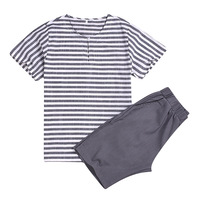 2019 hot selling wholesale summer family home two-piece striped top solid color shorts casual suit parent-child clothing