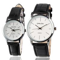 Factory directly sell quartz watch stainless steel back cheap price pu leather strap man lady watch