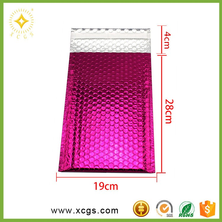 Rose color Aluminum foil Metallic bubble mailer with customized logo Padded Bubble Mailers for postage