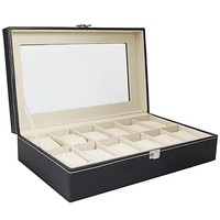 12 slot luxury leather watch packaging box with window watch organizer display case