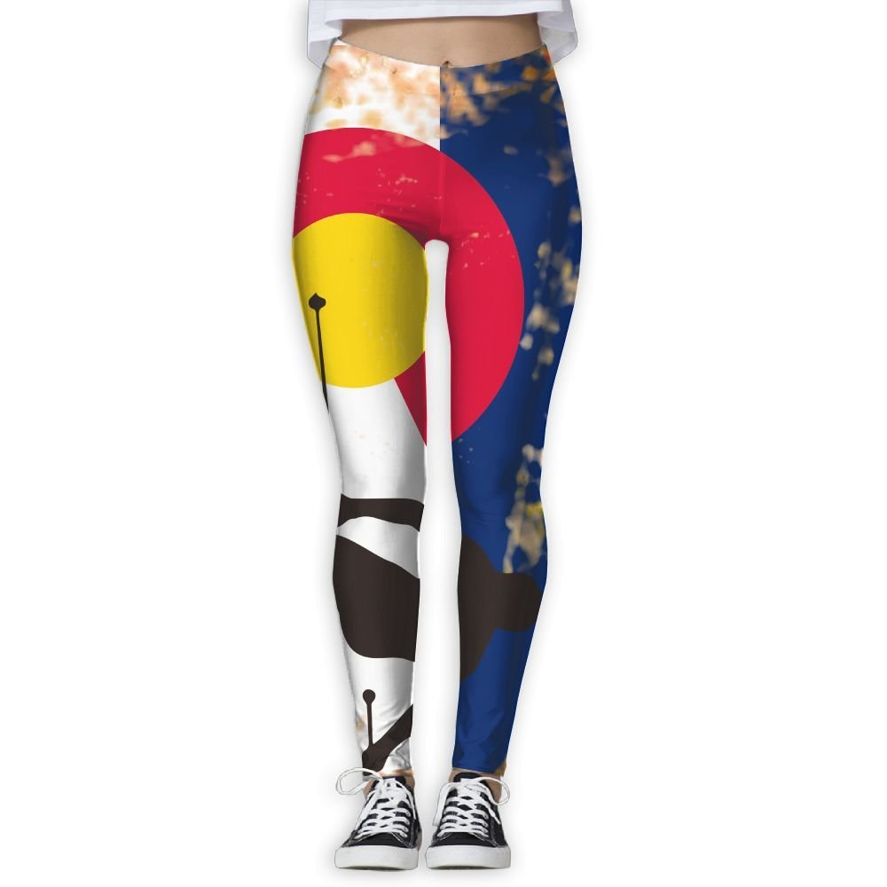 32beadd93f Get Quotations · Tdhrv Whdyrl Womens Colorado Flag Ski Skiing Lover  Distressed Athletic Gym Yoga Leggings Stretchy High Waist