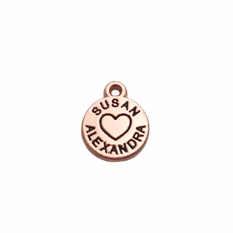 High quality small stamped logo custom metal letter jewelry pendant charms oem tags for decoration