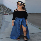 2019 Hot Selling fashion kid girl clothing long sleeve tops + Denim skirt 3pcs Girls Outfits