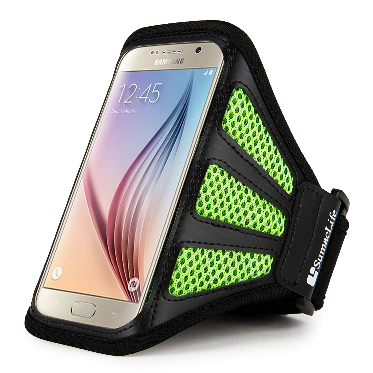 Sumaclife Fashion Mesh Sports Series Cellphone Armband Armlet for Samsung Galaxy J5 (2016) / Amp Prime / Amp 2 / S7 / S6 Edge / S6 / A5 / E5 (Green/Black)