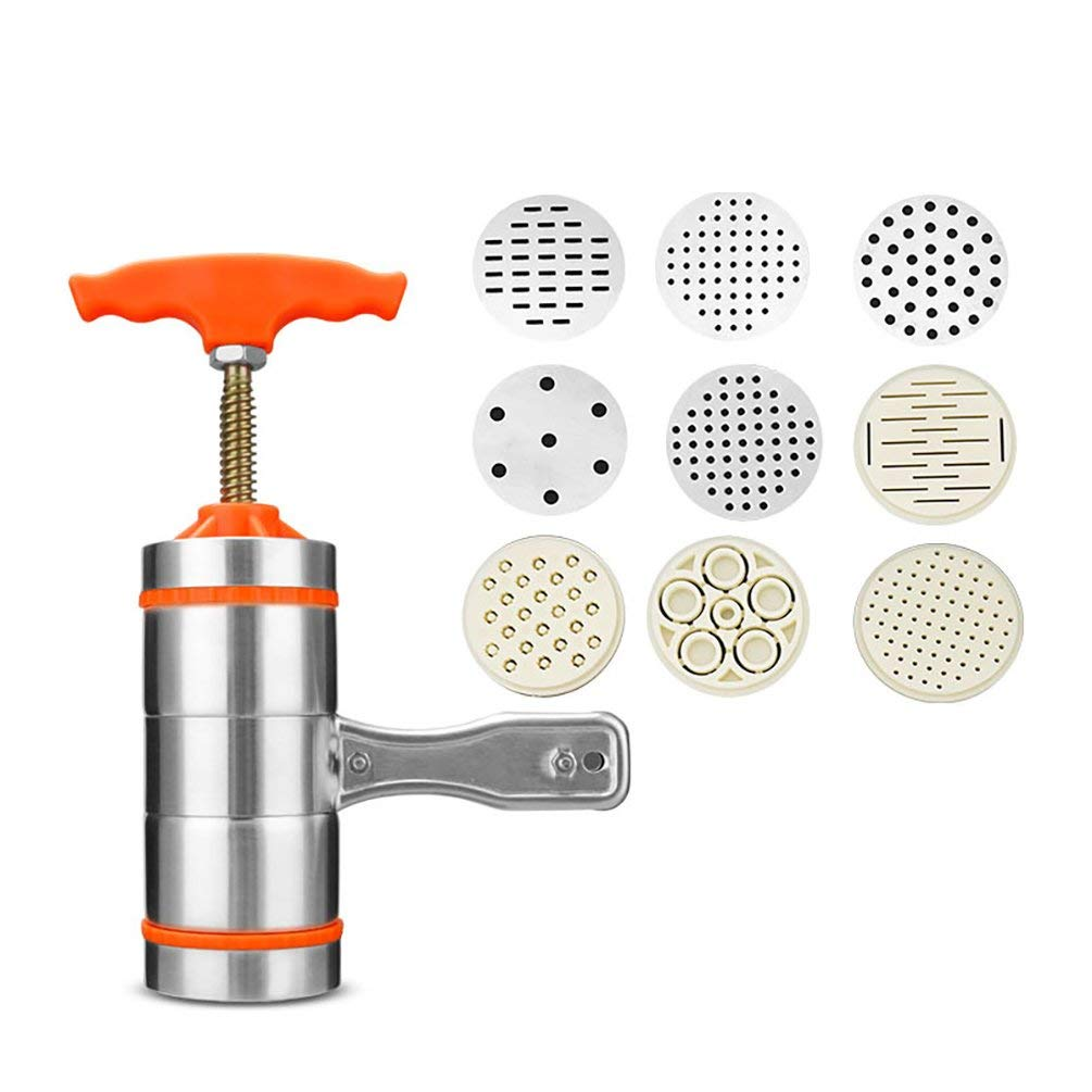AODEW Manual Noodles Press Machine Stainless Steel Manual Pasta Noodle Press Maker Fruit Juicer Squeezer with 9 Pressing Moulds