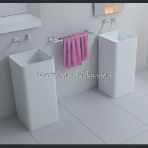 Western solid surface pedestal sinks artificial stone bathroom pedestal sinks