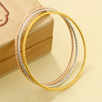 xuping $1.00 24 karat multicolor simple design dubai gold plated jewelry bangle bracelet, gold bangle set