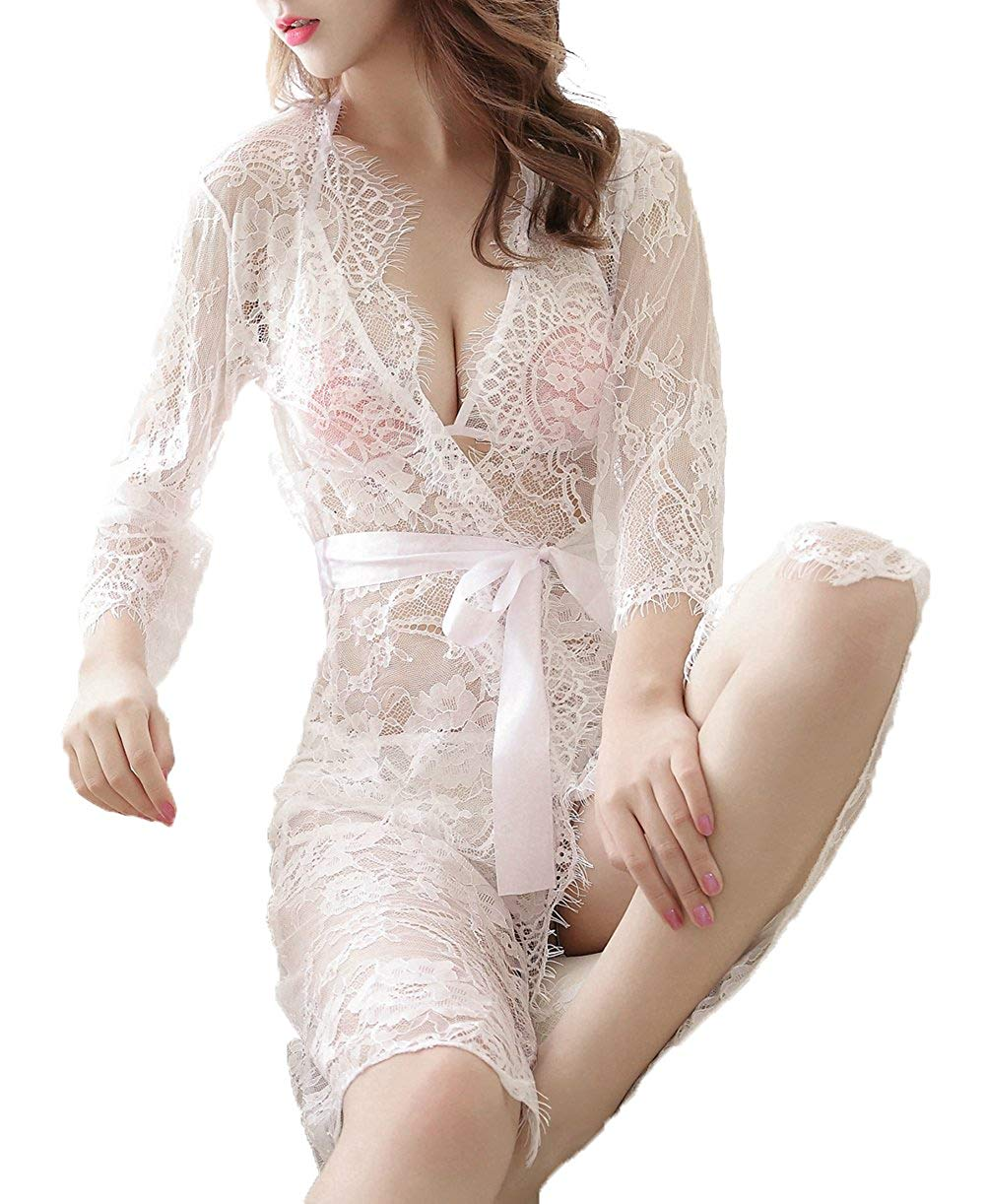 Get Quotations · Doqcey Women Lace Kimono Robe Babydoll Nightgown Chemise  Sexy Lingerie For Women f9b81ea62