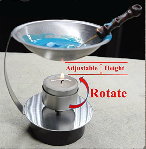 MNYR Adjustable Fire Height Wax Warmer Melting Spoon Kit Wax Sticks Beads Melting Furnace Tool Stove Pot For Wax Seal Stamp Wedding Invitations Lightening Candle Kit