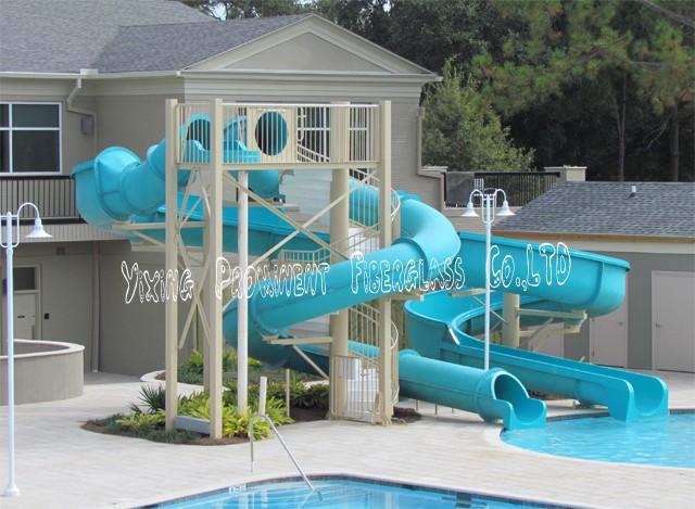 Private piscine d 39 eau en fiber de verre diapositives pour for Cash piscine verre filtrant