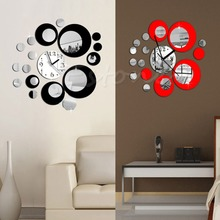 F85 Free Shipping Modern Circles Acrylic Mirror Style Wall Clock Removable Decal Art Sticker Decor