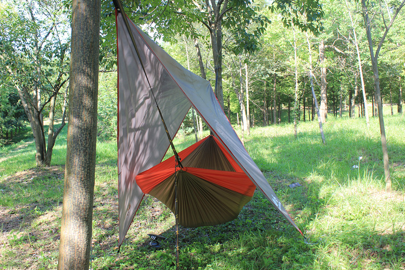 Waterproof Camping Tent Tarp-Ripstop Nylon Rainfly Hammock Shelter Includes Stuff Sack, Ropes, and Lightweight Aluminum Stakes