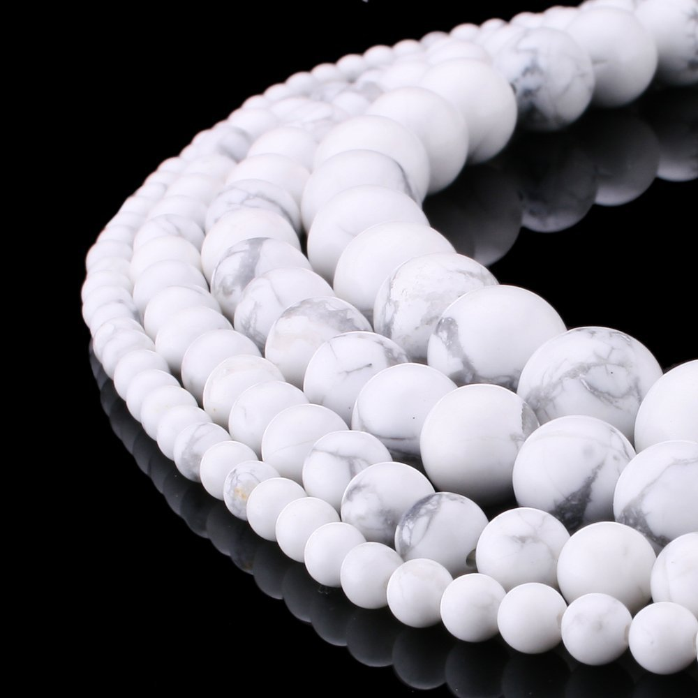 Wholesale Natural stone beads White Howlite Gemstone Round Loose Beads for Jewelry Making