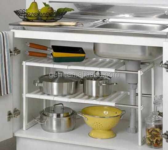 2014 twee lagen rek keuken plank onder de gootsteen gl2111 opslag houders en rekken product id - Plank keuken opslag ...