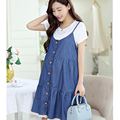 2016NEW Summer maternity dresses two piece all denim cotton cute dress for pregnant women large size